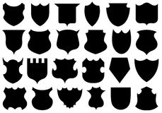 Set of different shields. Isolated on white Stock Image