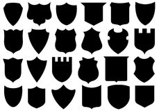 Set of different shields Stock Photo