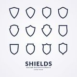 Set of different shields, templates for design of signs. Stock Photos
