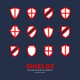 Set of different shields, templates for design of signs. Stock Image