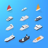 Set of different ship, motorboat, sailing, yacht, passenger, merchant, vessel. Colorful isometric illustration Royalty Free Stock Photo