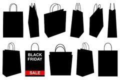 Set of different shopping bags. On white Stock Photography