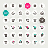Set of shopping cart, basket and bag icons Royalty Free Stock Image