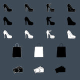 Set of different shopping icons. Shoes, bags and money Royalty Free Stock Images
