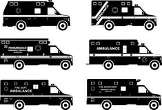 Set of different silhouettes ambulance cars Stock Image