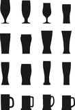 Set of different silhouettes beer glasses  Royalty Free Stock Images