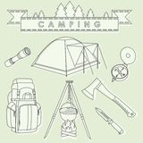 Set of different silhouettes camping equipment and objects linear vector icons  on background. Vector Stock Photography