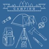 Set of different silhouettes camping equipment and objects linear vector icons  on blue background. Vector Stock Images