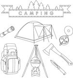 Set of different silhouettes camping equipment and objects linear vector icons  on white background. Vector Stock Photos