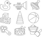 Set of different silhouettes children toys flat linear vector icons  on white background. Vector illustration. Silhouette illustration different kind of toys on Royalty Free Stock Photography
