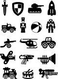 Set of different silhouettes children toys  on white background. Royalty Free Stock Images