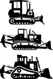 Set of different silhouettes dozers  on white background. Heavy construction and mining machines. Vector Stock Photo