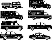 Set of different silhouettes fire truck, police. Silhouette illustration of fire truck, police and ambulance cars isolated on white background Stock Image