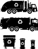 Set of different silhouettes garbage trucks and. Silhouette illustration of garbage trucks and dumpsters isolated on white background Royalty Free Stock Photo