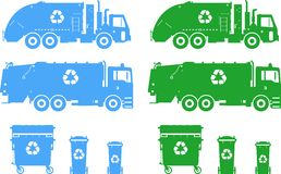 Set of different silhouettes garbage trucks and Stock Photography