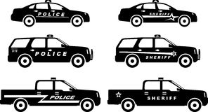 Set of different silhouettes police and sheriff Stock Photography