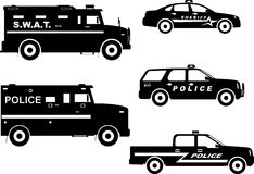 Set of different silhouettes police and sheriff Stock Photos