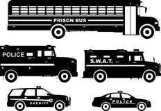 Set of different silhouettes prison bus and police Royalty Free Stock Photography