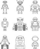 Set of different silhouettes robots flat linear vector icons  on white background. Vector illustration. Stock Photography