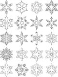 Set of different silhouettes snowflakes flat linear icons isolated on white background. Vector illustration. stock illustration
