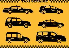 Set of different silhouettes taxi cars. Vector illustration. Royalty Free Stock Photo