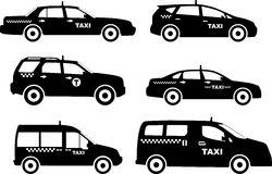 Set of different silhouettes taxi cars. Vector Stock Photos