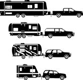 Set of different silhouettes travel trailer Royalty Free Stock Images