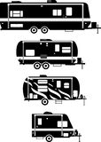 Set of different silhouettes travel trailer. Silhouette illustration of travel trailer caravans on a white background stock illustration