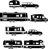 Set of different silhouettes travel trailer Stock Image