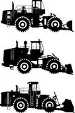 Set of different silhouettes wheel dozers isolated on white background. Heavy construction and mining machines. Vector Royalty Free Stock Images