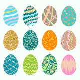 Set of different simlpe Easter eggs Royalty Free Stock Photos