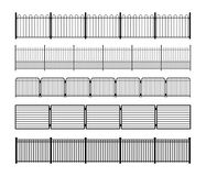 Set of different simple modular metal fence silhouettes. Horizontally seamless metal fence elements. Black silhouettes of fencing from construction metal Royalty Free Stock Photography