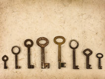 Set of different size antique keys Royalty Free Stock Image