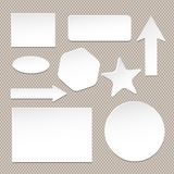 Set of different size and form white note paper with shadow effect   Stock Photos