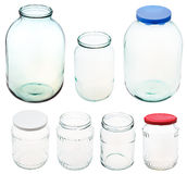 Set of different size glass jars isolated Stock Photography