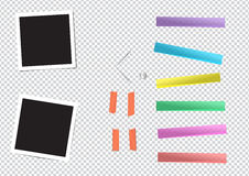 Set of different size sticky ,pin and photo frame. Set of different size sticky, adhesive tape, banners pieces and instant film are stuck on transparent Stock Photography