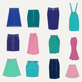 Set with different skirts. Royalty Free Stock Photography