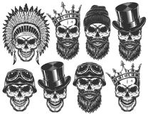Set of different skull characters with different hats and accessories. Monochrome style. Isolated on white background Stock Photos