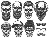 Set of different skull characters with different modern street style city attributes. stock illustration