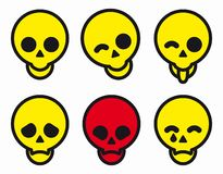Set of different smiles skulls icons. Vector illustration. royalty free stock images