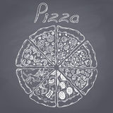 Set of different slices of pizza in vector. Chalk style illustration on chalkboard Royalty Free Stock Photography