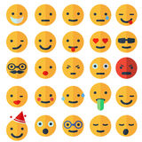 Set of different smileys, flat design Royalty Free Stock Photo