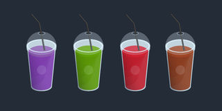 Set of different smoothies in plastic cup with lid and straws. Drinks, cocktails, beverage of orange, purple, green, red Royalty Free Stock Photos