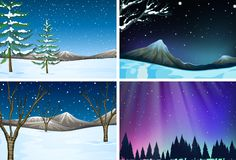 Set of different snow scenes. Illustration stock illustration