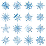 Set  of different snowflakes. Decorative ice crystal Royalty Free Stock Photography