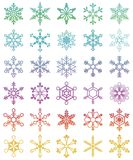 Set of 30 different snowflakes Royalty Free Stock Photos
