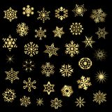 Set of different snowflakes, vector royalty free illustration