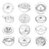 Set of different soups. Vector illustration in sketch style.  vector illustration