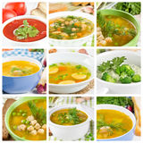 Set of different soups stock images