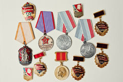 Set of different soviet medals on white background Royalty Free Stock Photography